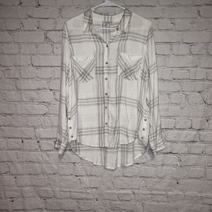 Lucky Brand Metallic Stripe Flannel Top